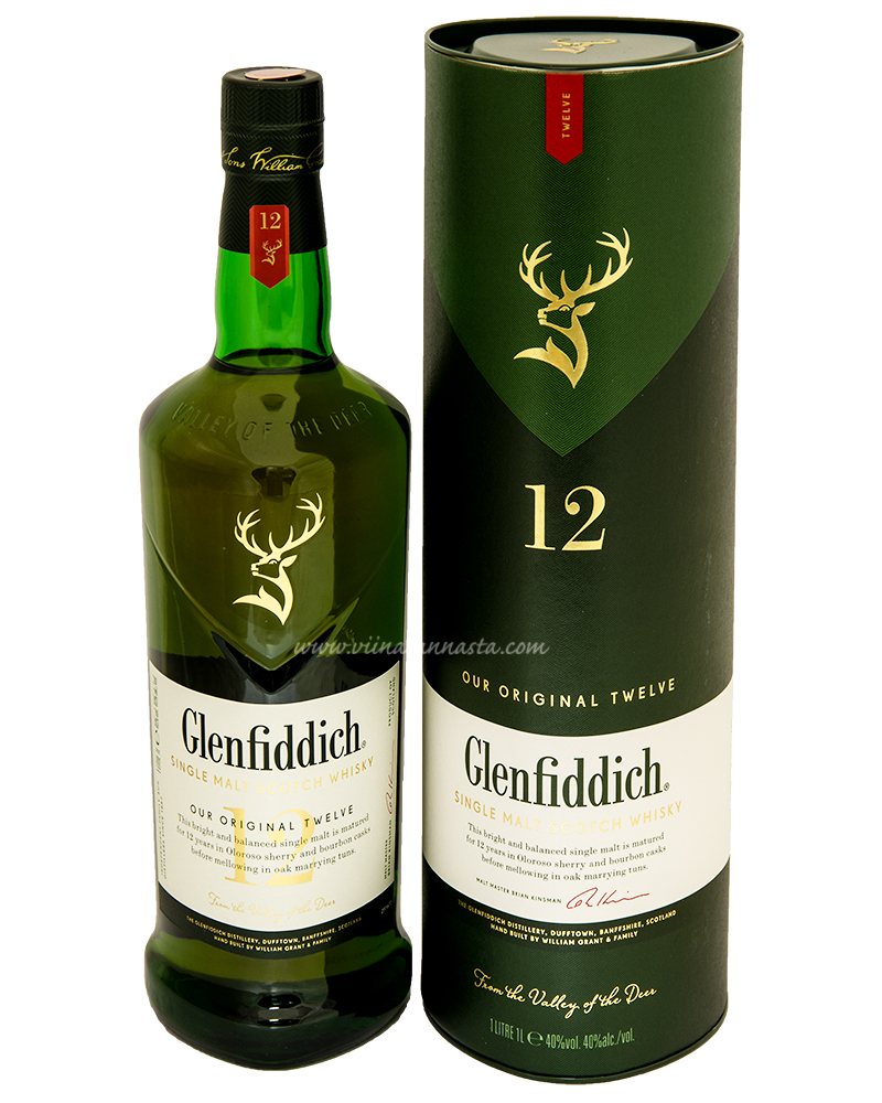Glenfiddich 12YO Single Malt 40% 100cl TUBE